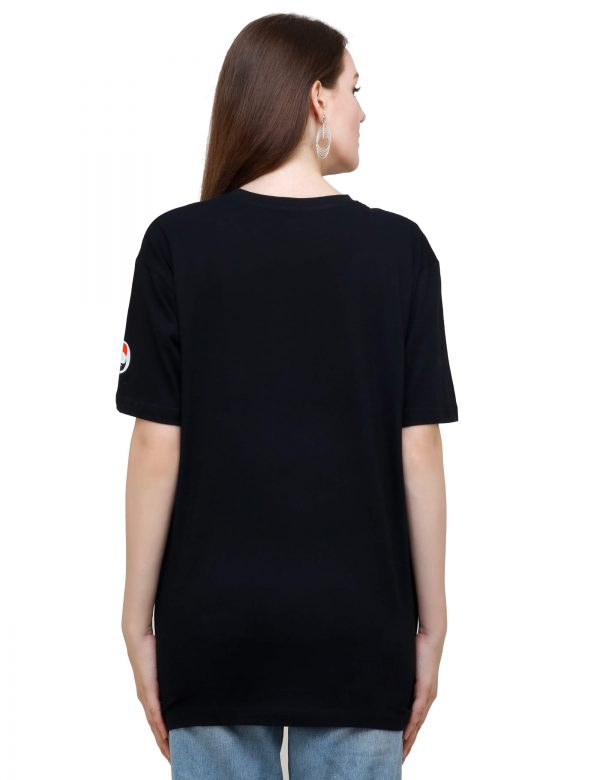 rear view of black colour unisex tshirt with i love coffee printed on it