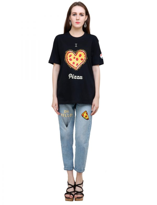front view of black colour unisex tshirt with i love pizza printed on it
