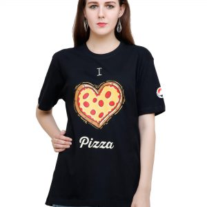bust view of black colour unisex tshirt with i love pizza printed on it