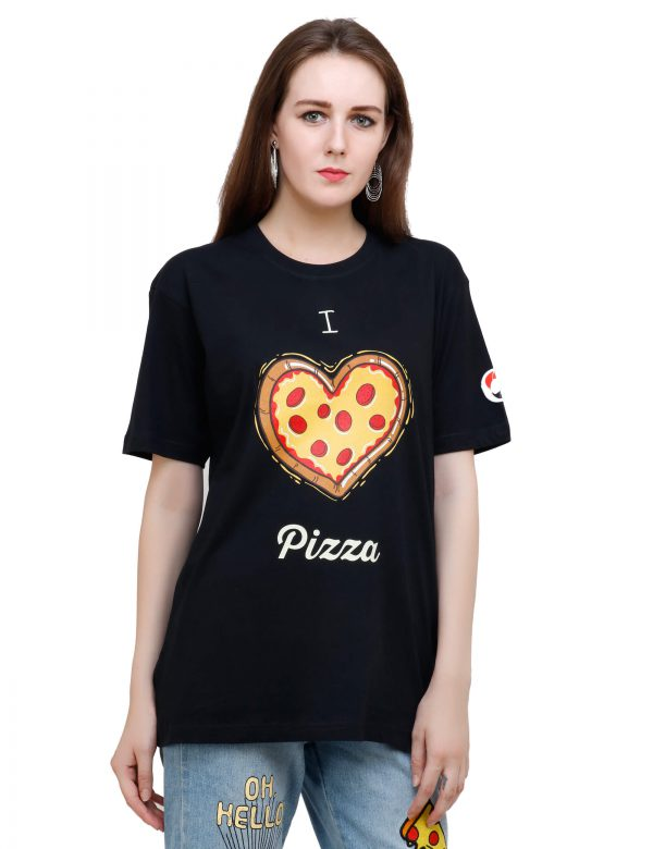 right view of black colour unisex tshirt with i love pizza printed on it