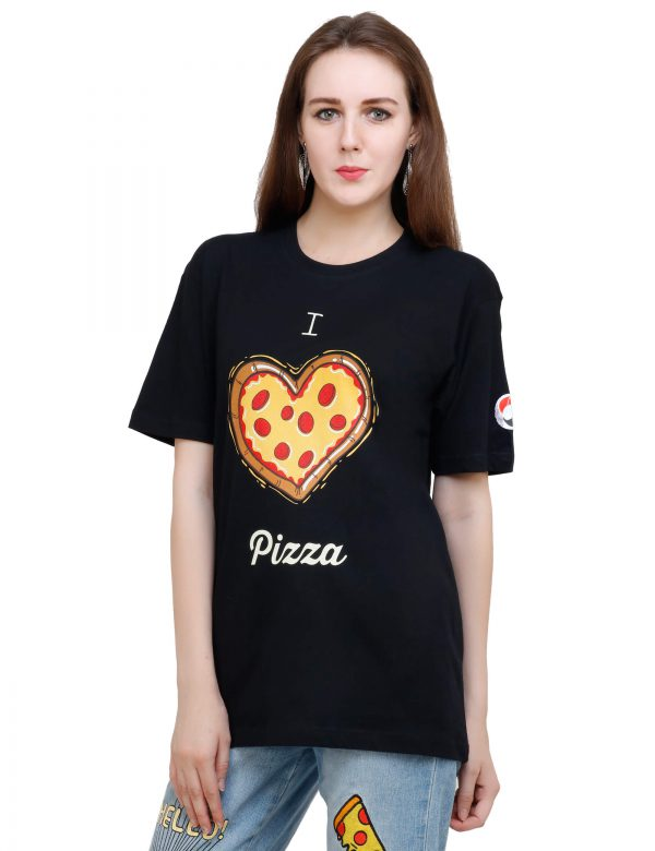 left view of black colour unisex tshirt with i love pizza printed on it