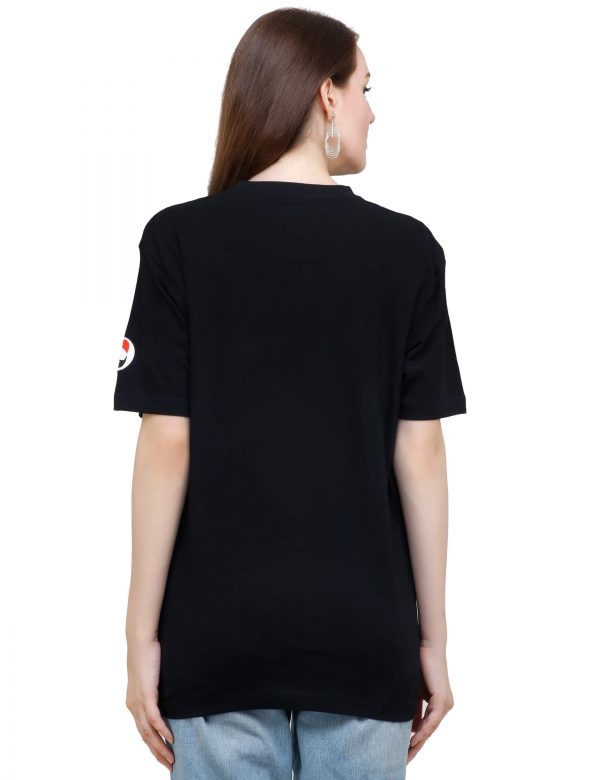 rear view of black colour unisex tshirt with i love pizza printed on it