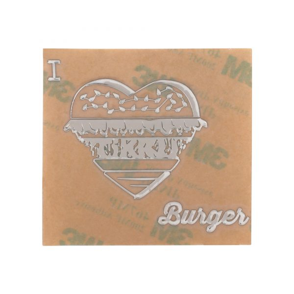 front view of chrome coloured i love burger metal sticker