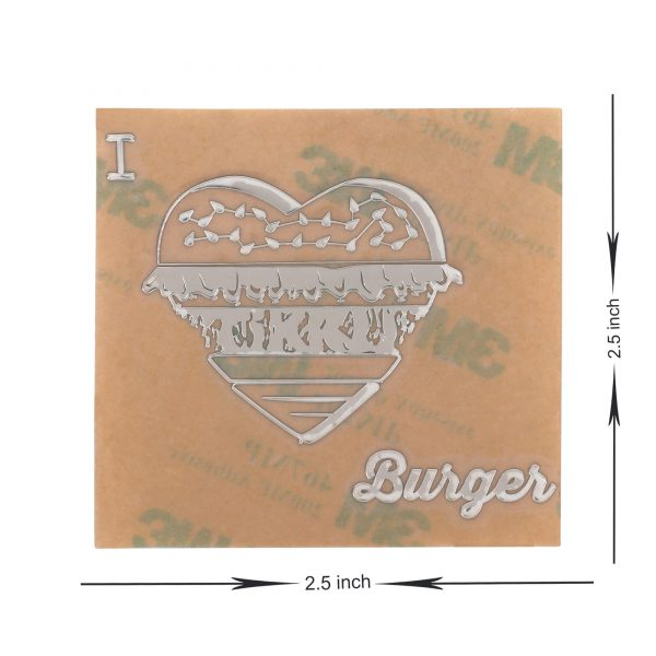 dimensions of i love burger metal stickers