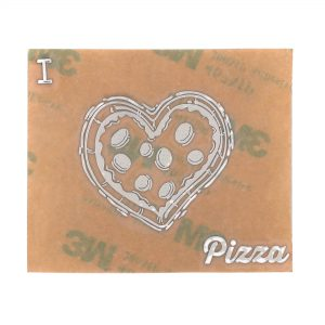 front view of chrome coloured i love pizza metal sticker