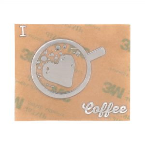 front view of chrome coloured i love coffee metal sticker