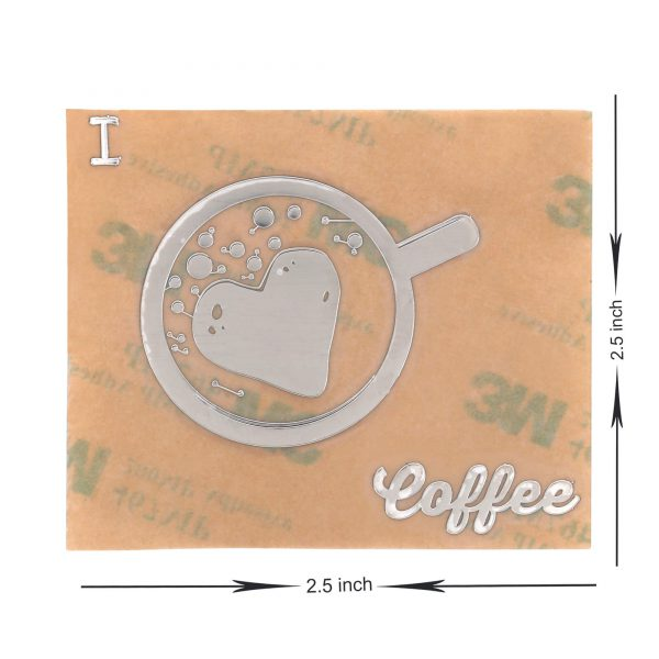 dimensions of i love coffee metal sticker