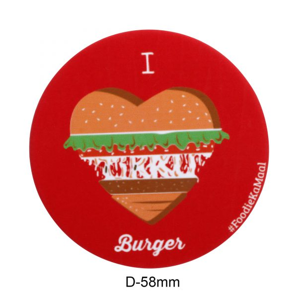 dimensions of red colour badge or fridge magnet with i love burger printed on it