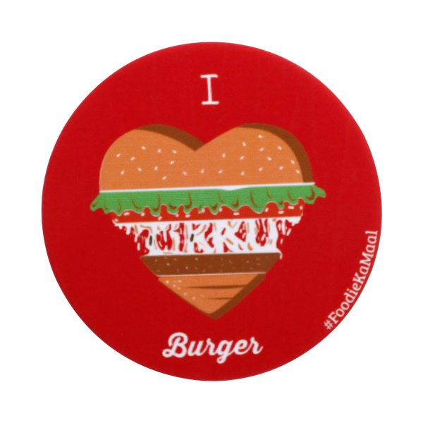 red colour badge or fridge magnet with i love burger printed on it