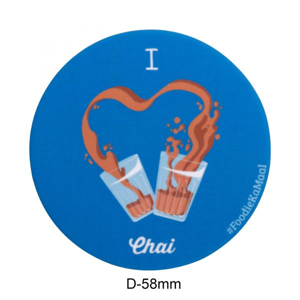 dimensions of blue colour badge or fridge magnet with i love chai printed on it