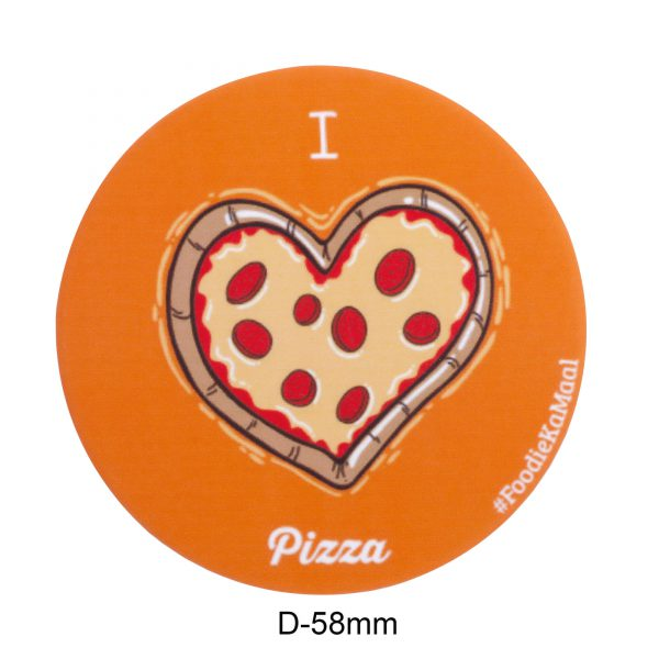 dimensions of orange colour badge or fridge magnet with i love pizza printed on it