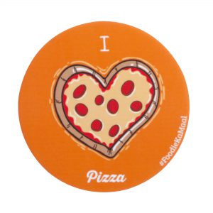 orange colour badge or fridge magnet with i love pizza printed on it