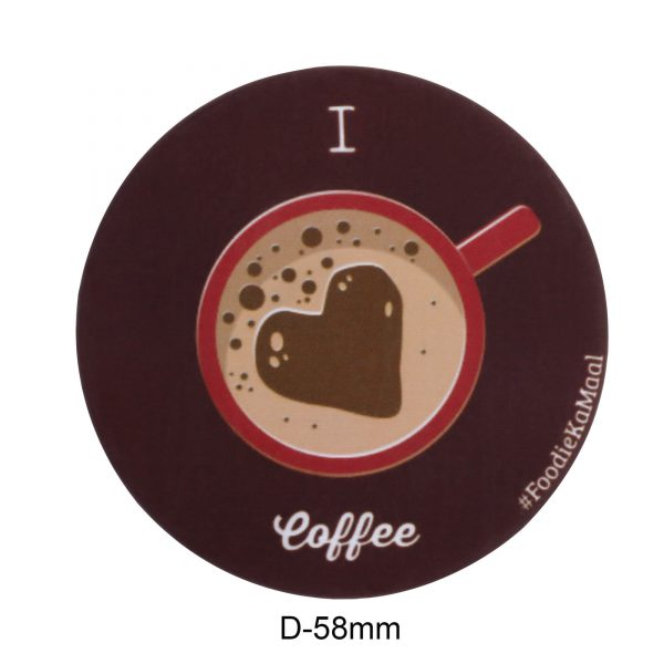dimensions of badge or fridge magnet with i love coffee printed on it