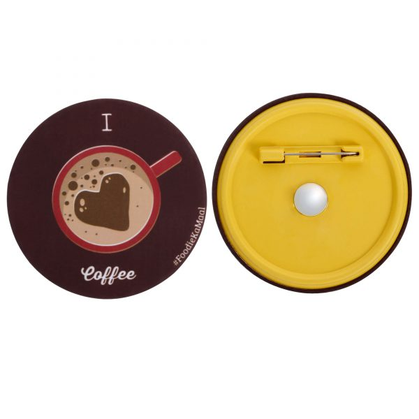both front and rear views of badge or fridge magnet with i love coffee printed on it