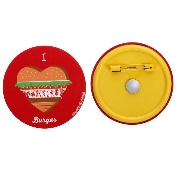 both front and rear views of i love burger badge or fridge magnet