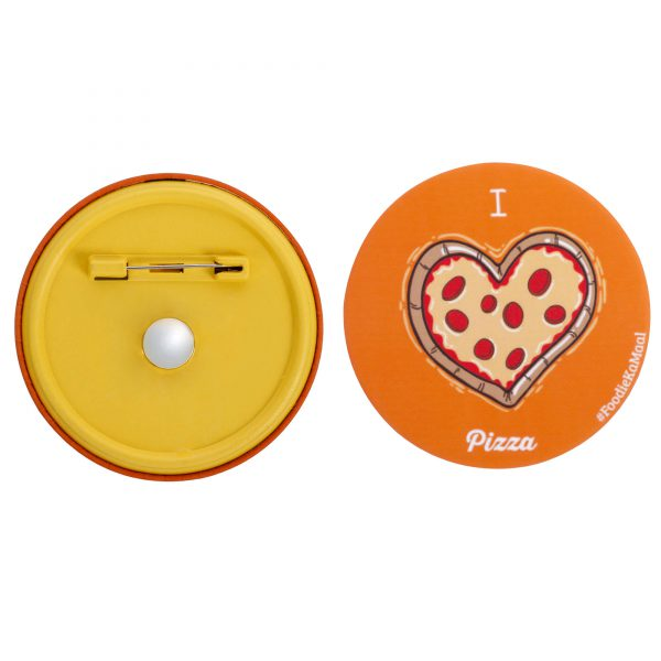 both front and rear views of badge or fridge magnet with i love pizza printed on it