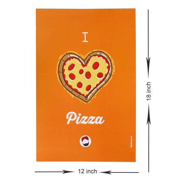 dimensions of orange coloured wall poster with i love pizza printed on it