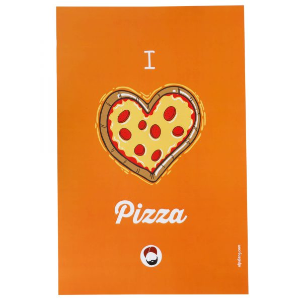 front view of orange coloured wall poster with i love pizza printed on it