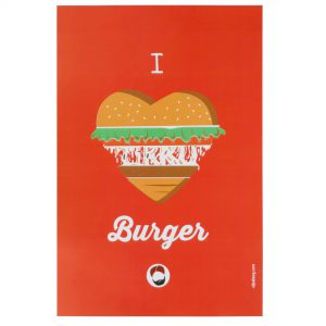 front view of the wall poster with i love burger printed on it