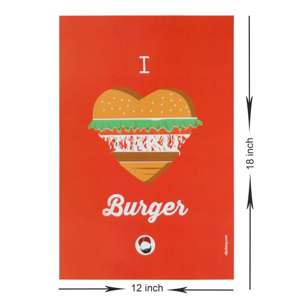 dimensions of red coloured wall poster with i love burger printed on it