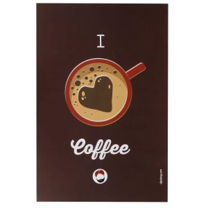 front view of brown coloured wall poster with i love coffee printed on it