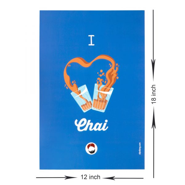 dimensions of blue coloured wall poster with i love chai printed on it