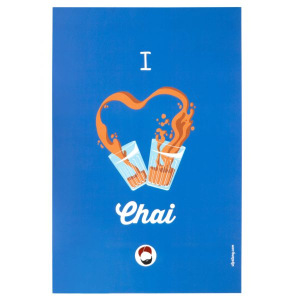 front view of wall poster with i love chai printed on it
