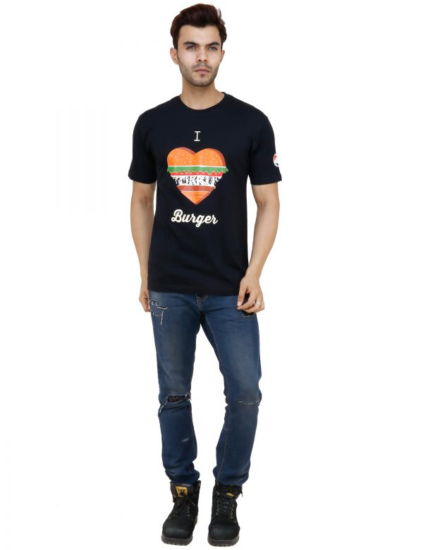 front view of black colour unisex tshirt with i love burger printed on it