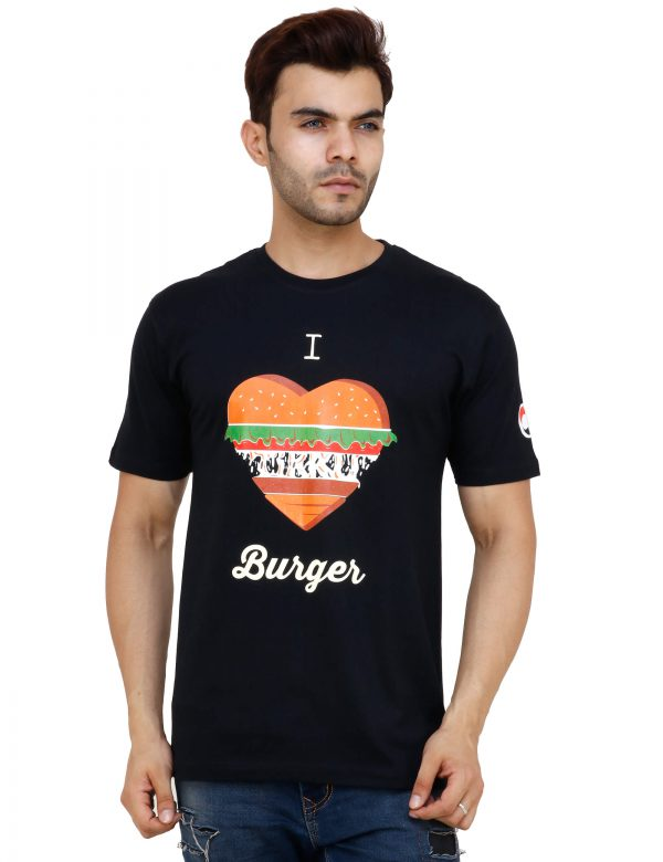 bust view of black colour unisex tshirt with i love burger printed on it