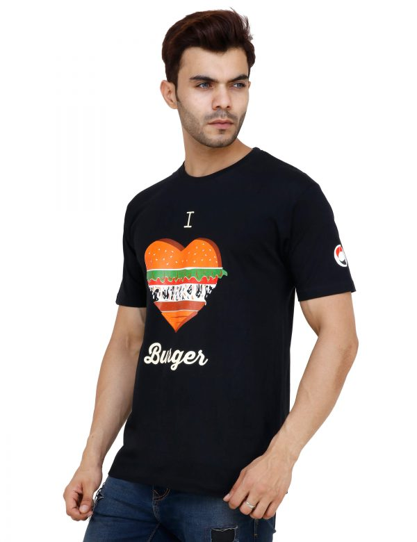 left view of black colour tshirt with i love burger printed on it