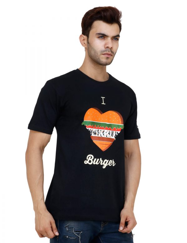 right view of black colour unisex tshirt with i love burger printed on it