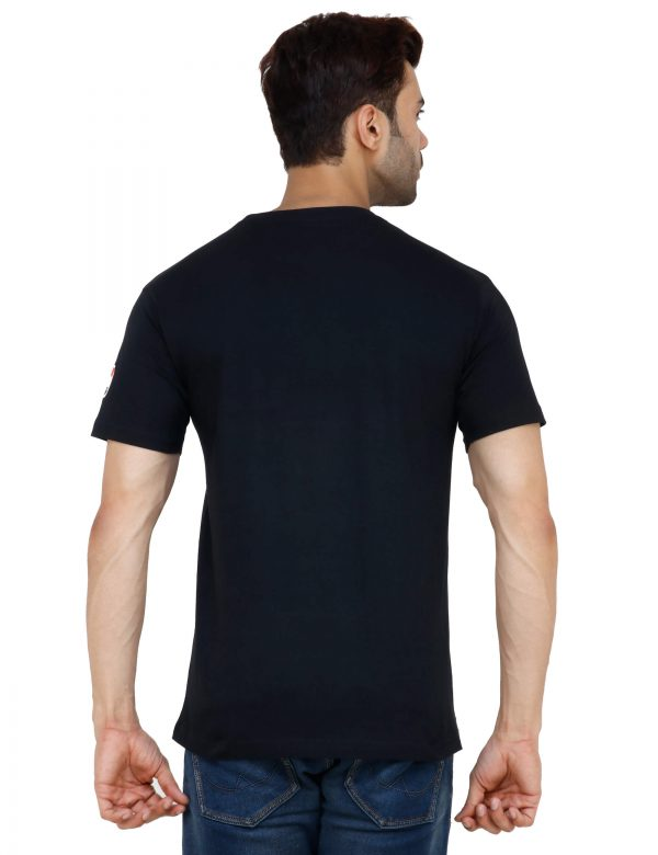 rear view of black colour unisex tshirt